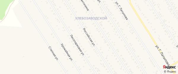 Российская улица на карте села Чекмагуш с номерами домов