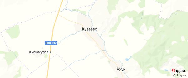 Карта Кузеевского сельсовета республики Башкортостан с районами, улицами и номерами домов
