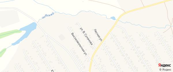 Улица В.Суханова на карте села Чекмагуш с номерами домов