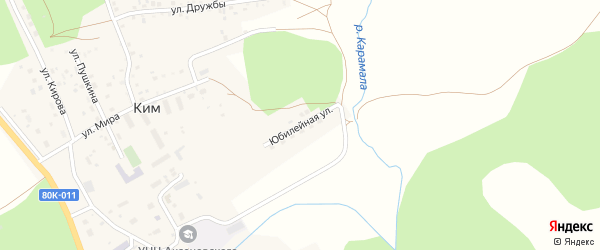 Юбилейная улица на карте села Кима с номерами домов