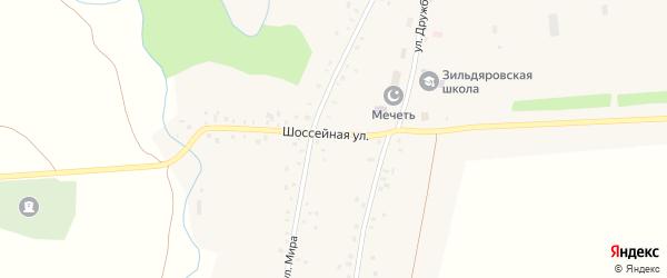 Шоссейная улица на карте села Зильдярово с номерами домов