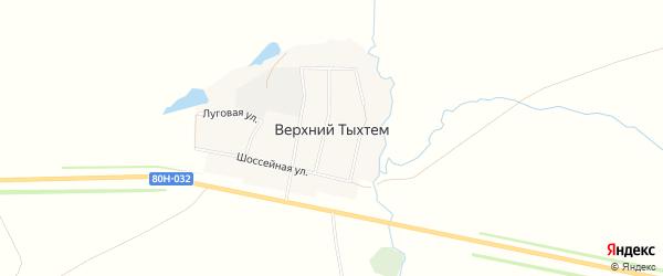 Карта деревни Верхнего Тыхтема в Башкортостане с улицами и номерами домов