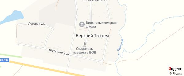 Шоссейная улица на карте деревни Верхнего Тыхтема с номерами домов