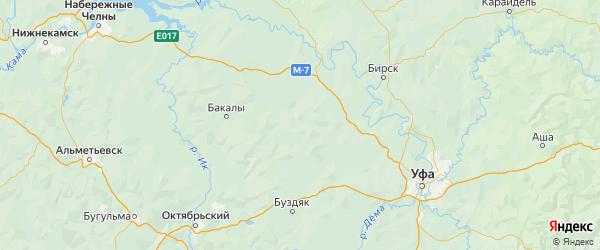 Карта Чекмагушевского района республики Башкортостан с городами и населенными пунктами