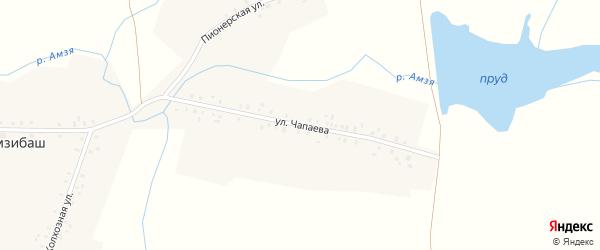 Улица Чапаева на карте деревни Амзибаша с номерами домов