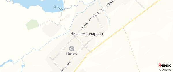 Карта села Нижнеманчарово в Башкортостане с улицами и номерами домов