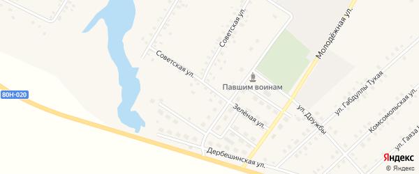 Зеленая улица на карте села Исмаилово с номерами домов