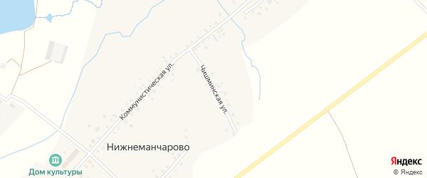 Чишминская улица на карте села Нижнеманчарово с номерами домов