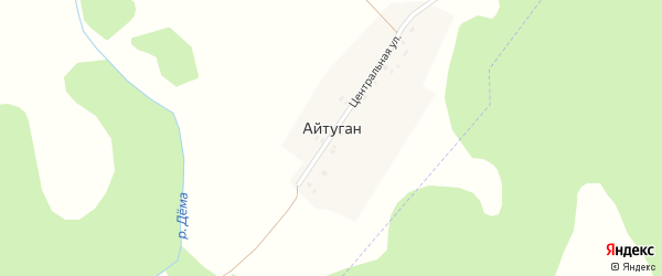 Центральная улица на карте деревни Айтугана с номерами домов