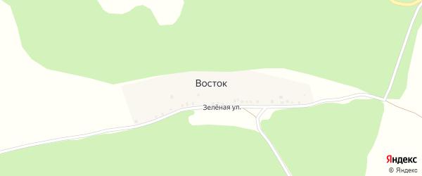 Зеленая улица на карте деревни Востока с номерами домов