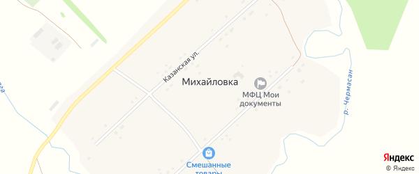 Казанская улица на карте села Михайловки с номерами домов