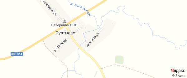 Заречная улица на карте деревни Султыево с номерами домов