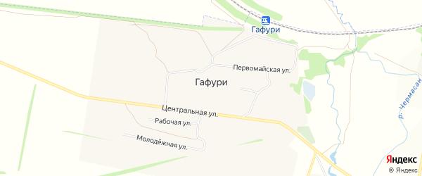 Карта села Гафури в Башкортостане с улицами и номерами домов