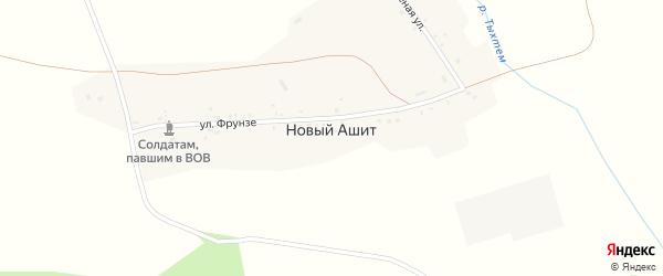 Зеленая улица на карте деревни Нового Ашита с номерами домов