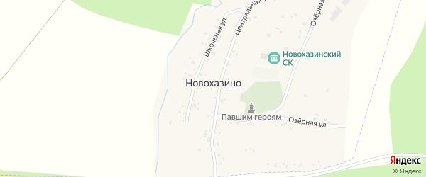 Центральная улица на карте деревни Новохазино с номерами домов