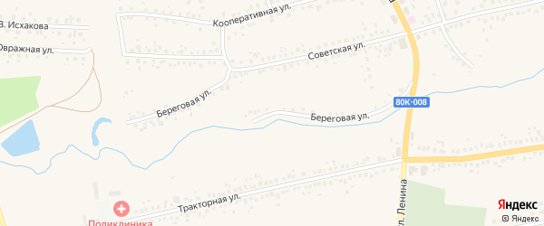 Береговая улица на карте села Чекмагуш с номерами домов