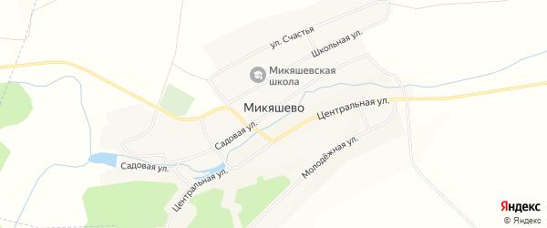 Карта села Микяшево в Башкортостане с улицами и номерами домов
