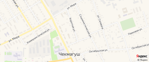 Короткая улица на карте села Чекмагуш с номерами домов