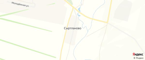 Карта деревни Сыртланово в Башкортостане с улицами и номерами домов