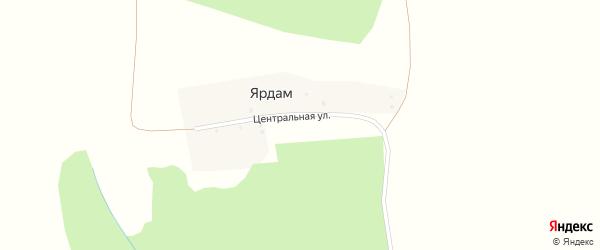 Центральная улица на карте деревни Ярдама с номерами домов