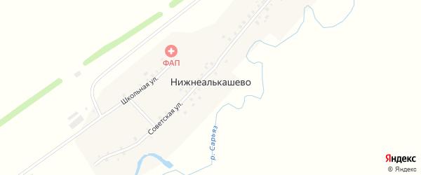 Школьная улица на карте деревни Нижнеалькашево с номерами домов