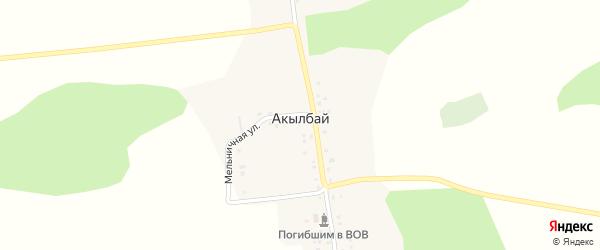 Центральная улица на карте деревни Акылбая с номерами домов