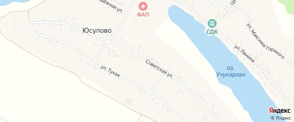 Советская улица на карте села Юсупово с номерами домов