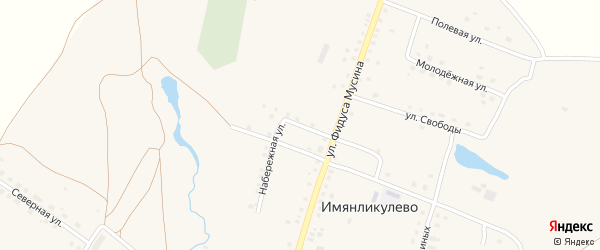 Набережная улица на карте села Имянликулево с номерами домов