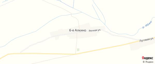 Карта деревни 6-е Алкино в Башкортостане с улицами и номерами домов