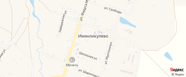 Центральная улица на карте села Имянликулево с номерами домов