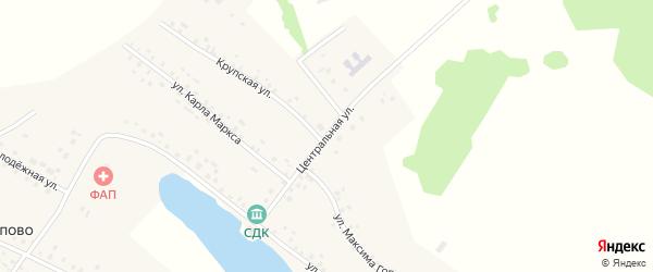 Центральная улица на карте села Юсупово с номерами домов