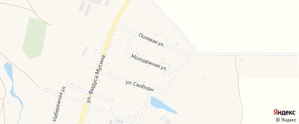 Молодежная улица на карте села Имянликулево с номерами домов