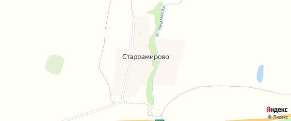 Улица Бакира Давлетова на карте деревни Староамирово с номерами домов