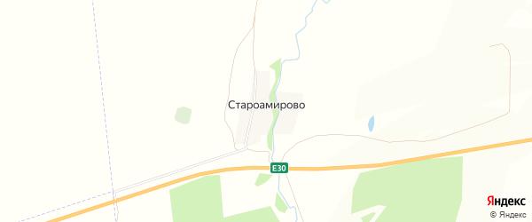 Карта деревни Староамирово в Башкортостане с улицами и номерами домов