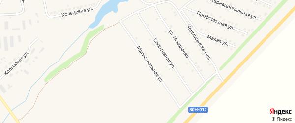Магистральная улица на карте села Чекмагуш с номерами домов