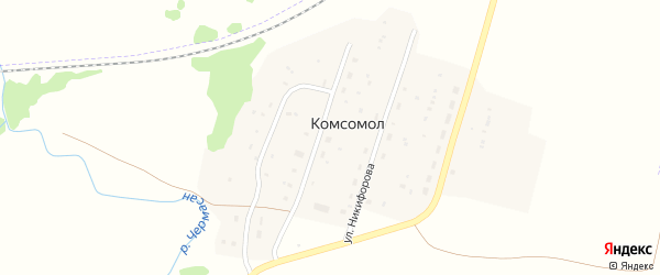 Школьная улица на карте села Комсомола с номерами домов