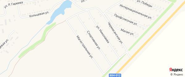 Спортивная улица на карте села Чекмагуш с номерами домов