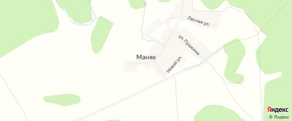 Карта деревни Маняка в Башкортостане с улицами и номерами домов