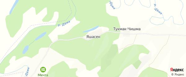 Карта деревни Яшасена в Башкортостане с улицами и номерами домов
