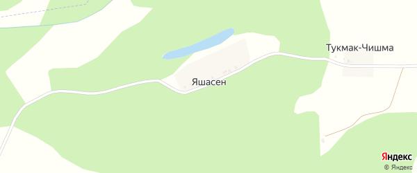 Дачная улица на карте деревни Яшасена с номерами домов