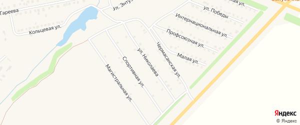 Улица Николаева на карте села Чекмагуш с номерами домов