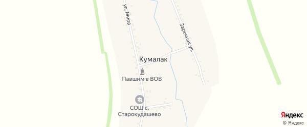 Садовый переулок на карте деревни Кумалака с номерами домов