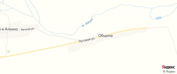 Карта деревни Община в Башкортостане с улицами и номерами домов