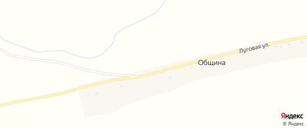 Луговая улица на карте деревни Община с номерами домов