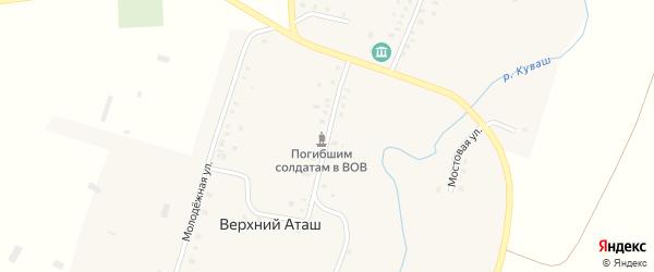 Центральная улица на карте села Верхнего Аташа с номерами домов