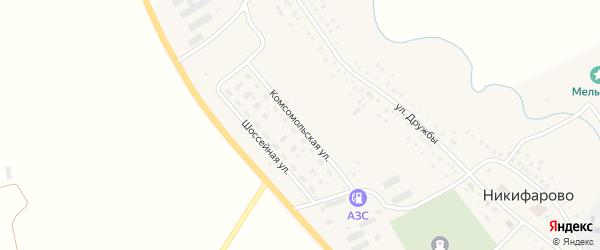 Комсомольская улица на карте села Никифарово с номерами домов