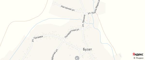 Поперечная улица на карте села Бузата с номерами домов