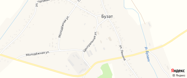 Центральная улица на карте села Бузата с номерами домов