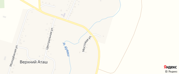 Мостовая улица на карте села Верхнего Аташа с номерами домов