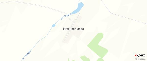 Карта деревни Нижней Чатры в Башкортостане с улицами и номерами домов